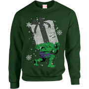 Marvel Comics The Incredible Hulk Christmas Present Green Christmas Sweatshirt