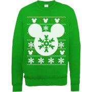 Disney Mickey Mouse Christmas Snowflake Silhouette Green Christmas Sweatshirt