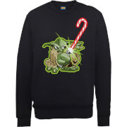 Image of Star Wars Candy Cane Yoda Black Christmas Sweatshirt - S - Black