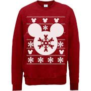 Disney Mickey Mouse Christmas Schneeflocken Silhouette Weihnachtspullover - Rot