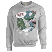 DC Comics Originals Superman Peace On Earth Grey Christmas Sweatshirt   XXL   Grey