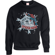 Marvel Comics The Amazing Spiderman Snowflake Web Black Christmas Sweatshirt