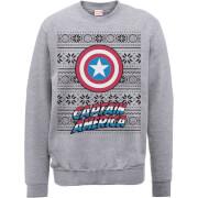 Marvel Comics Captain America Caps Shield Grey Christmas Sweatshirt