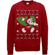 Sweat Homme/Femme Mickey Mouse Sapin de Noël - Disney - Rouge