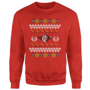 Star Wars Yoda Sabre Knit Red Christmas Sweatshirt