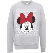 Disney Minnie Mouse Christmas Minnie Face Grey Christmas Sweatshirt