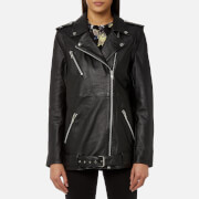 Gestuz Women's Keiko Long Leather Jacket - Black