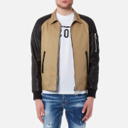 Dsquared2 Men's 50's Bomber Jacket with Raglan Leather Sleeves - Kaky - 48/M - Tan