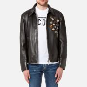 Dsquared2 Men's Leather 50's Rocker Leather Jacket with Pins - Black - L - Black