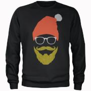 Hipster Santa Glitter Beard Black Christmas Sweatshirt