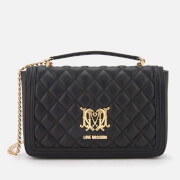 Love Moschino Women's Quilted Chain Logo Cross Body Bag - Black