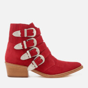 Toga Pulla Women's Buckle Side Suede Heeled Ankle Boots - Red/Natural Sole - UK 3/EU 36 - Red