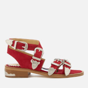 Toga Pulla Women's Suede Strappy Flat Sandals - Red - UK 3/EU 36 - Red