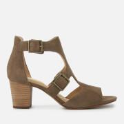 Clarks Women's Deloria Kay Suede Block Heeled Sandals - Olive - UK 4 - Green