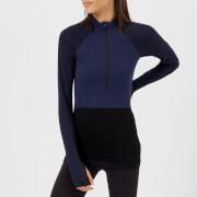 FALKE Ergonomic Sport System Women's 1/2 Zip Long Sleeve Top - Dark Night - L - Blue