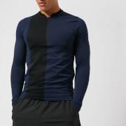 FALKE Ergonomic Sport System Men's 1/2 Zip Long Sleeve Bomber Top - Dark Night - S - Blue