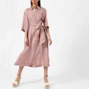 Diane von Furstenberg Women's 3/4 Sleeve Belted Shirt Dress - Emory Stripe Bordeaux - L - Red