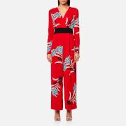 Diane von Furstenberg Women's Crossover Jumpsuit - Farren Lipstick - US 4/UK 8 - Red
