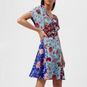 Diane von Furstenberg Women's Draped Wrap Dress - Canton Electric Blue/Multi - US 4/UK 8 - Multi