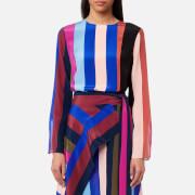 Diane von Furstenberg Women's Side Slit Shell Top - Carson Stripe Black/Multi - US 4/UK 8 - Multi