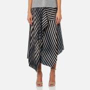 Diane von Furstenberg Women's Draped Asymmetric Midi Skirt - Whiston Black - US 4/UK 8 - Multi