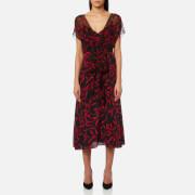 Diane von Furstenberg Women's Overlay Front Tie Dress - Shelton Black - US 6/UK 10 - Red