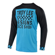 Troy Lee Designs Skyline Long Sleeve Checker Jersey - Ocean/Black - S - Blau/Schwarz