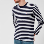 Maison Kitsuné Men's Marin Long Sleeve T-Shirt with Tricolor Fox Patch - Navy/White - M - Blue/White