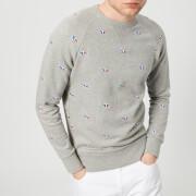 Maison Kitsuné Men's All Over Tricolor Sweatshirt - Grey Melange - L - Grey