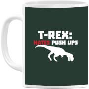 T-Rex Hates Pushups (white) Mug