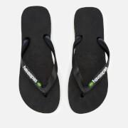 Havaianas Men's Brasil Logo Flip Flops - Black/Black