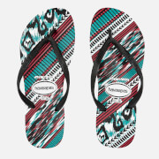 Havaianas Women's Slim Tribal Flip Flops - White/Black/Blue