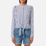 Rails Women's Piper Shirt - Ocean White Stripe - L - Multi