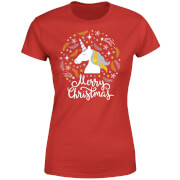 Unicorn Christmas Women's T-Shirt - Red