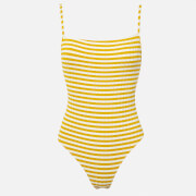Solid & Striped Women's The Chelsea Swimsuit - Mustard Stripe Rib - L - Yellow