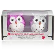 Metallic Owl Lip Balm Duo - Strawberry/Vanilla