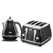 De'Longhi Micalite 4 Slice Toaster and Kettle Bundle - Black