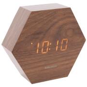 Karlsson Hexagon Alarm Clock - Dark Wood Veneer - Orange LED