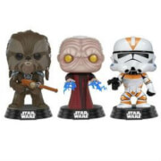Star Wars Tarfful, Unhooded Emperor, Utapau Clone Trooper EXC Pop! Vinyl Bobble 3-Pack