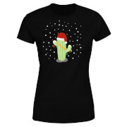 Cactus Santa Hat Women's T-Shirt - Black