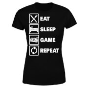Eat Sleep Game Repeat Women's T-Shirt - Black