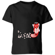 Flower Fox Kids' T-Shirt - Black