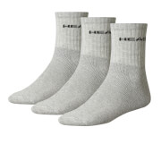 Head Men's 3 Pack Short Crew Socks - Grey
