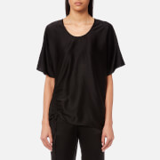 T by Alexander Wang Women's Asymmetric Drape Short Sleeve Top with Ruche - Black - US 4/UK 8 - Black