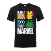 Marvel Multi Colour Main Tile Men's Black T-Shirt
