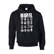 Marvel Multi Heads Men's Black Pullover Hoodie