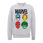 Marvel Comics Main Character Faces Männer Sweatshirt - Grau