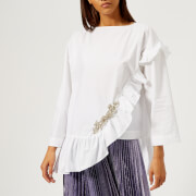 Christopher Kane Women's Crystal Poplin Frill Top - White - IT 40/UK 8 - White