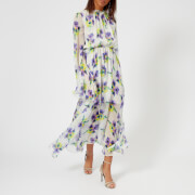 MSGM Women's Maxi Frill Dress - Lilac/White - IT 42/UK 10 - Multi