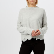 Helmut Lang Women's Distressed Crew Neck Jumper - Snowstorm - L - Grey